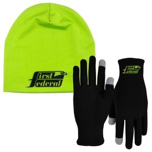 Runners Text Gloves Performance Beanie Cap Combo